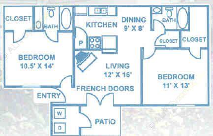 916 sq. ft. B2 floor plan