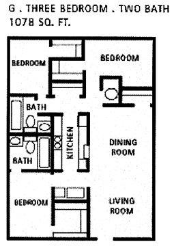 1,078 sq. ft. G floor plan