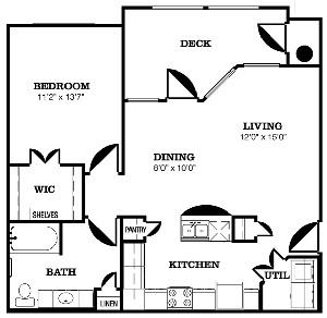 807 sq. ft. B floor plan