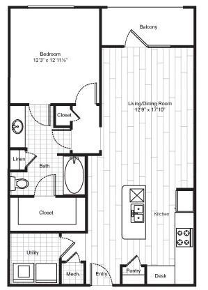 859 sq. ft. A8 floor plan