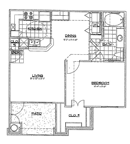 718 sq. ft. A3/60% floor plan