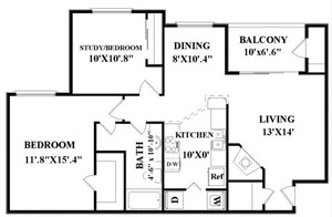 932 sq. ft. A4 floor plan