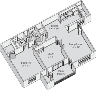 833 sq. ft. CHARLOTTE floor plan