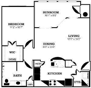 934 sq. ft. C floor plan