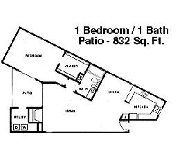832 sq. ft. A1 floor plan