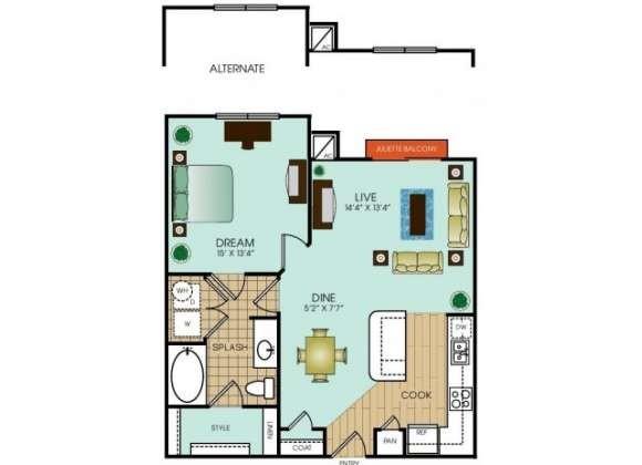 751 sq. ft. to 758 sq. ft. floor plan
