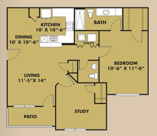 948 sq. ft. A2 floor plan