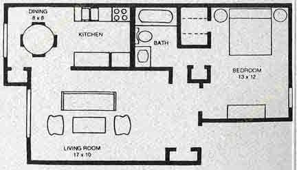 670 sq. ft. A1 floor plan