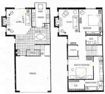 1,820 sq. ft. D floor plan
