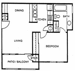 583 sq. ft. A2 floor plan