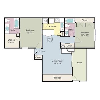 1,030 sq. ft. Portsmith floor plan