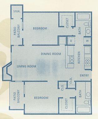 911 sq. ft. B2 floor plan