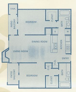 911 sq. ft. B2 floor plan