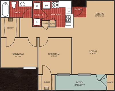 950 sq. ft. 60 floor plan