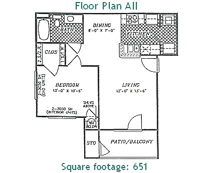 651 sq. ft. PHASE II floor plan