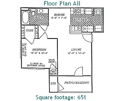 651 sq. ft. PHASE II floor plan