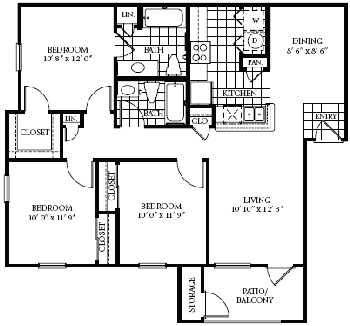 1,100 sq. ft. 60 floor plan
