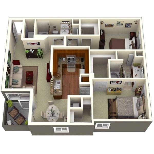 1,101 sq. ft. Pine 1 floor plan