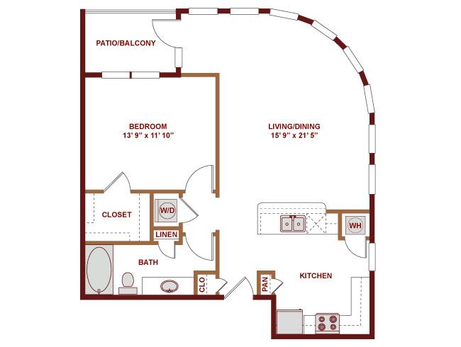 871 sq. ft. A450 floor plan