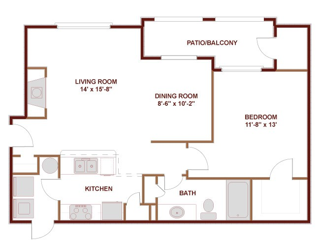 793 sq. ft. to 1,075 sq. ft. 11C floor plan