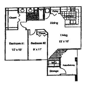 900 sq. ft. Aster/60 floor plan