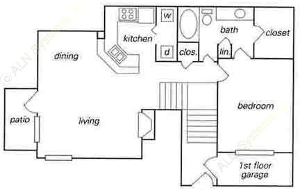 781 sq. ft. A3 w/ attached garage floor plan