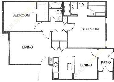 1,005 sq. ft. floor plan