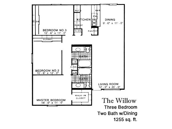 1,255 sq. ft. WILLOW floor plan