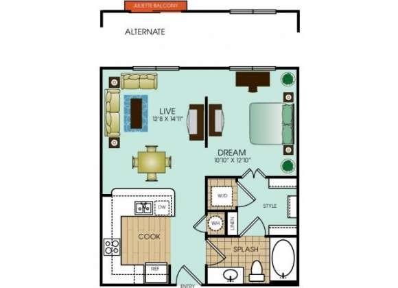 607 sq. ft. to 633 sq. ft. floor plan