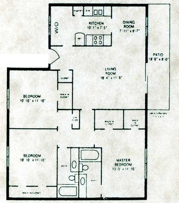 1,250 sq. ft. C-1 W/D floor plan
