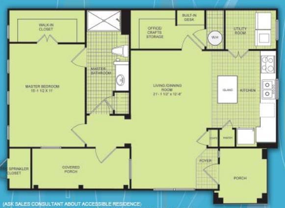 880 sq. ft. A2 60% floor plan