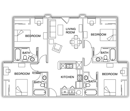 1,357 sq. ft. floor plan