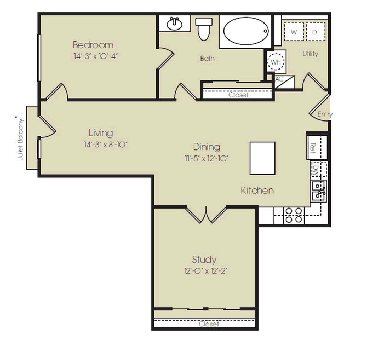 1,009 sq. ft. to 1,023 sq. ft. Wall Street floor plan