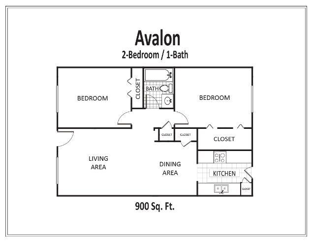 900 sq. ft. to 912 sq. ft. floor plan