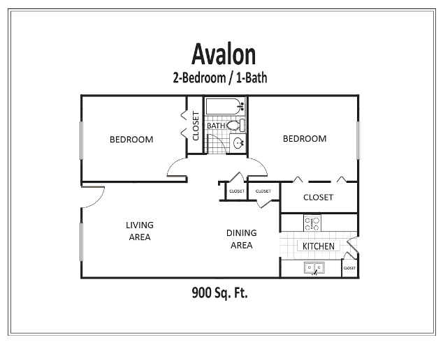 900 sq. ft. to 912 sq. ft. floor plan