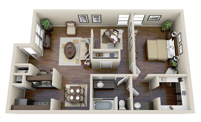 908 sq. ft. A3 floor plan