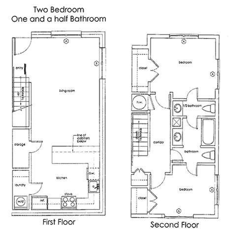 992 sq. ft. B1 floor plan