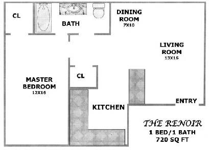 720 sq. ft. CEDAR floor plan