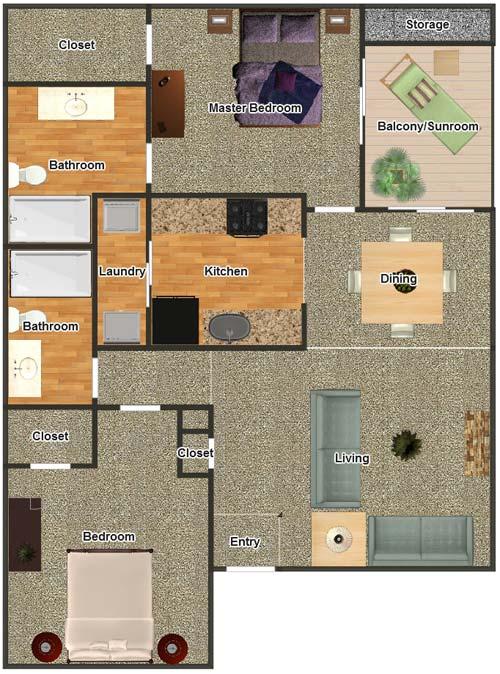 1,001 sq. ft. B-2 floor plan
