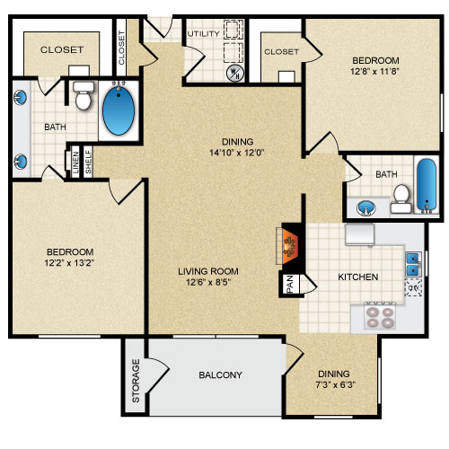 1,205 sq. ft. TARA floor plan