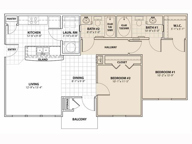 896 sq. ft. 60% floor plan