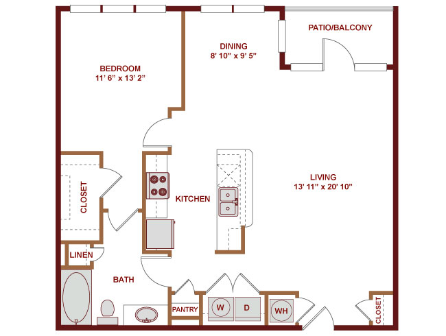 912 sq. ft. A500 floor plan