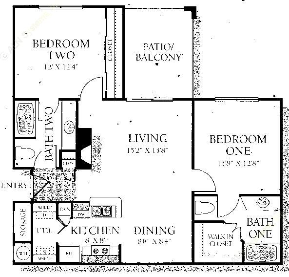 983 sq. ft. B1 floor plan