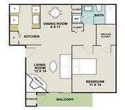 680 sq. ft. LIGHTHOUSE floor plan