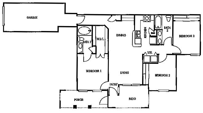 1,177 sq. ft. F1 floor plan