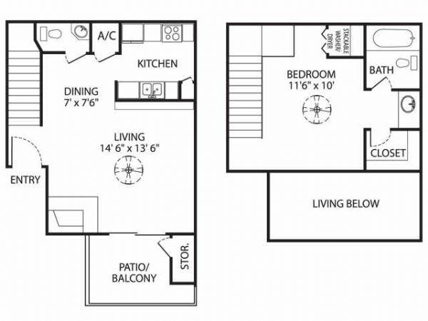 688 sq. ft. A-1 floor plan