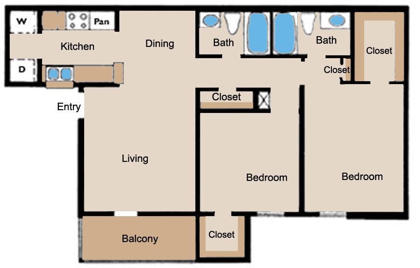 1,000 sq. ft. C floor plan