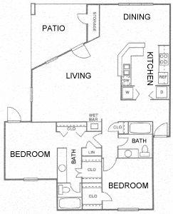 1,196 sq. ft. G floor plan