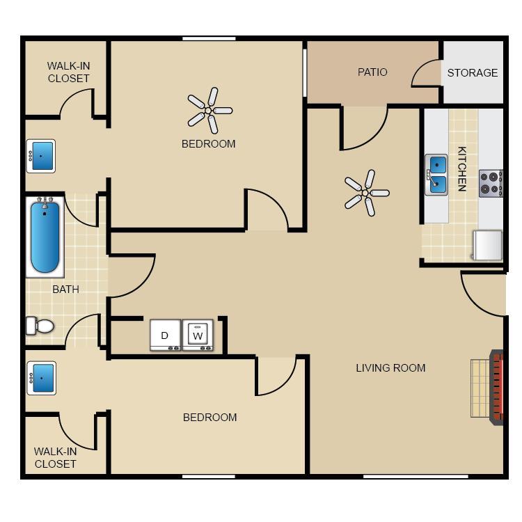 887 sq. ft. C2/1 floor plan