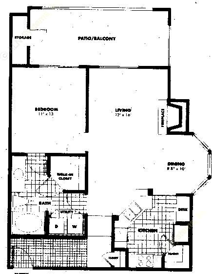 812 sq. ft. to 1,012 sq. ft. A3 floor plan
